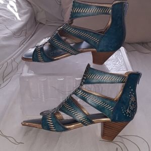 Spring Step teal and gold gladiator sandal